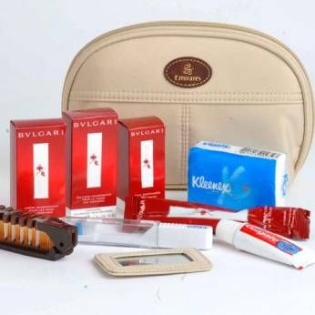 [Business Class] Emirates The Dubai-based carrier features different business class amenity kits for men and women. The men's kit is made of canvas and contains products by Thé Rouge, including after-shave emulsion, body lotion, and eau parfumée. Men also get a razor from Taylor's of Old Bond Street. The women's kit (pictured above) is made of a light beige fabric and contains Bvlgari nourishing face emulsion and nourishing hand cream, as well as Thé Rouge eau parfumée.