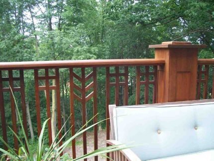 Prairie style railingStairs Railings, Mission Railing, Decks Railings, Outdoor Stair Railings, Craftsman Railings, Railings Ideas, Porches Railings, Deck Railings, Craftsman Deck Railing