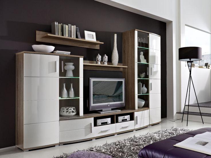 Wohnwand weiß hochglanz mit holz  Die besten 25+ Wohnwand hochglanz Ideen nur auf Pinterest | Tv ...