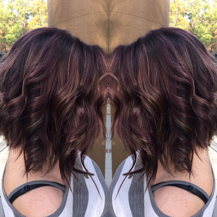 Fall color , mocha , bronze , chocolate raspberry hair balayage bob wavy