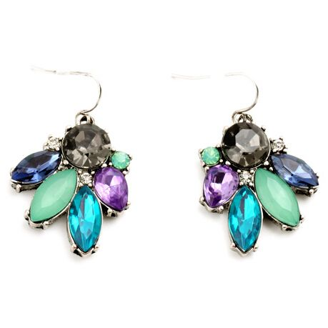 2017 New  Fashion Vintage Earrings Blue Flower Silver Color Alloy Earrings For Women Charm Brand Jewelry Dress Accessories