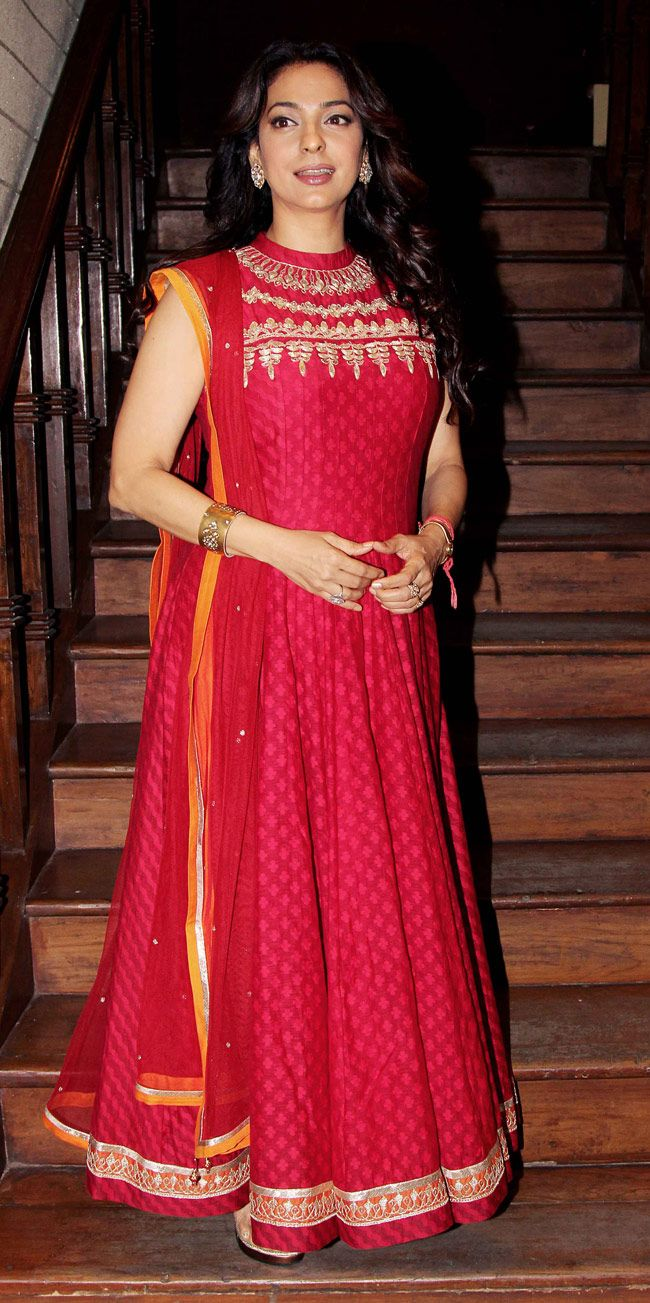 Juhi Chawla looking pretty in a red floor length anarkali dress.