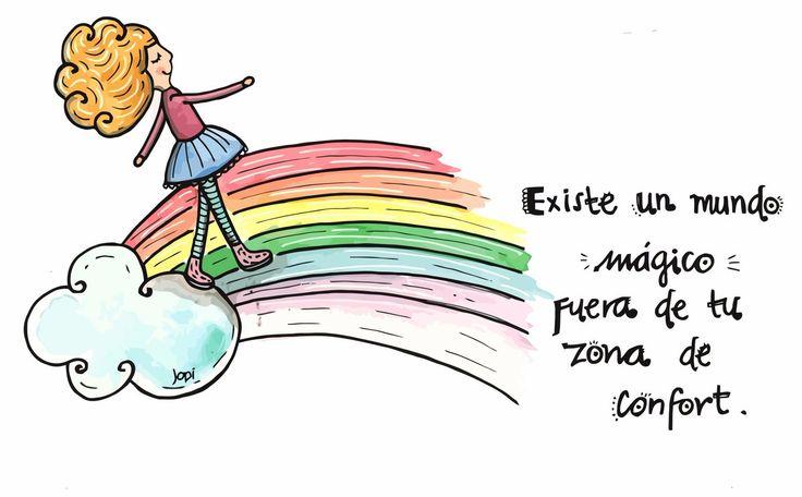 ¡Sal ya de tu #ZonaDeConfort! Aprende todo lo que vida tiene para ofrecerte y serás más feliz. ¡Explora, siente y vive! Ilustración de #Jopi enseñándonos cada día a ser más felices.