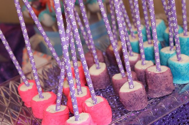 Pink, Purple & Turquoise Chocolate dipped marshmallows for our Abby Cadabby Party