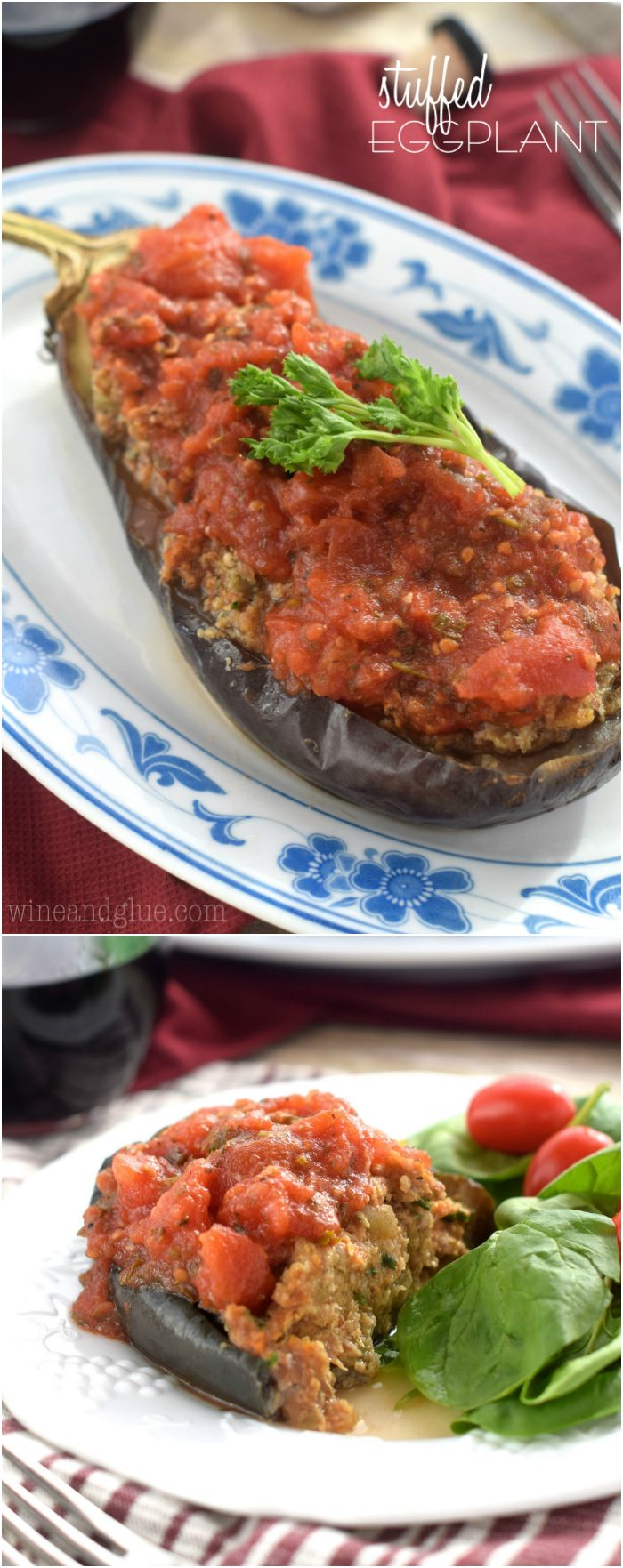 Stuffed Eggplant with delicious spicy sausage, bread crumbs, eggs, and cooked eggplant all topped with a homemade red sauce!