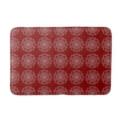 #Beautiful White Mandala Flower On Red Bathroom Mat - #Bathroom #Accessories #home #living