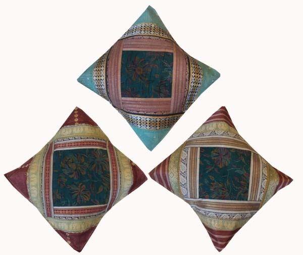 SET OF 3 PATCHWORK ZARI SILK SARI BROCADE BED FLOOR CUSHION PILLOW COVERS 16