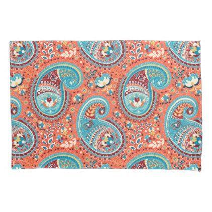 Paisley Pattern Renaissance Teal Orange Pillow Case - pattern sample design template diy cyo customize