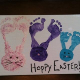 Footprint bunny ears craft. Cute!!