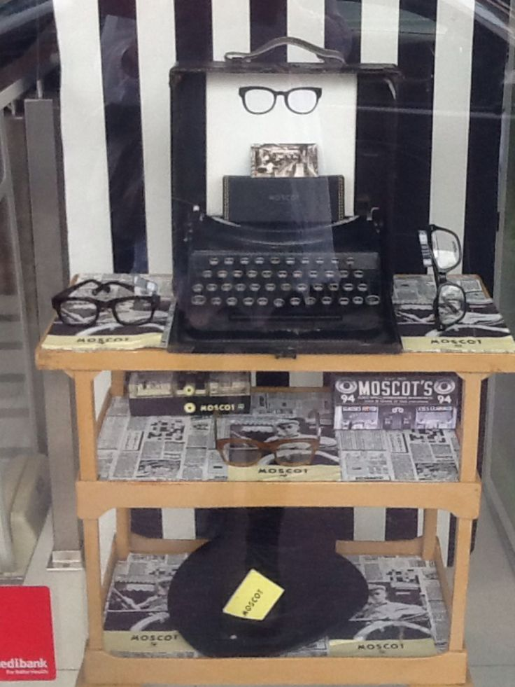 Moscot window display by Through the looking glass retail window stylist Melbourne, Australia.