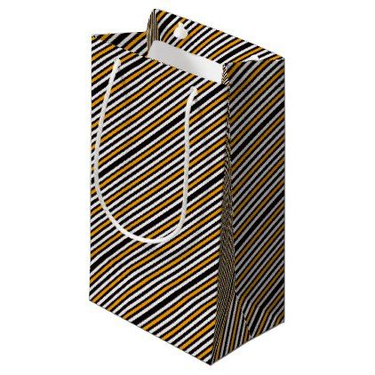 Horizontal Black With Orange Small Gift Bag - black gifts unique cool diy customize personalize
