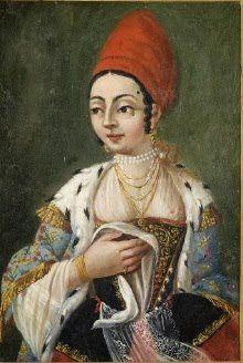 Jean B. Van Moor (1671-1737) (απόδ.), Ελληνίδα αστή από το Φανάρι της Κωνσταντινούπολης, ελαιογραφία. 18ος αι.  Συλλογή Ζωγραφικής, Σχεδίων και Χαρακτικών, ΜΟΥΣΕΙΟ ΜΠΕΝΑΚΗ