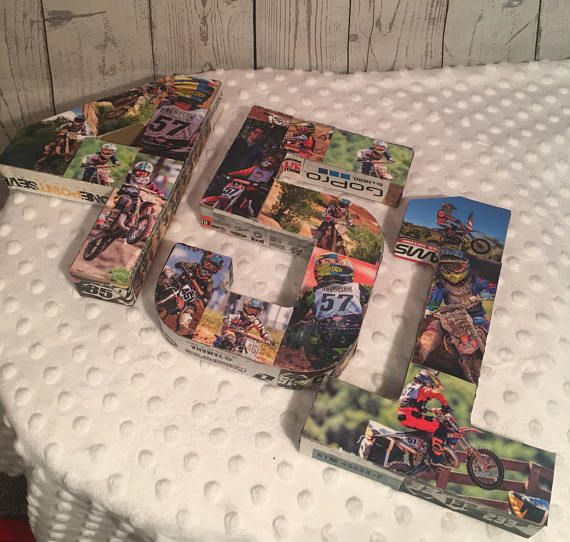 I can do any number or name on special request Paper Mache from motocross magazines OR send me photos via mail to put on the numbers,make sure you have copys of the photos because they will be cut up and pasted on the to numbers. If you are going to send me the photos please purchase these