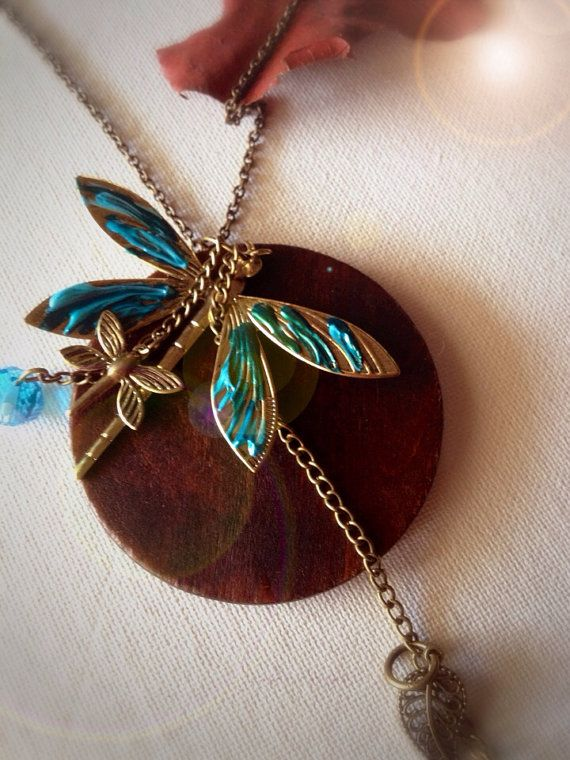 dragonfly beaded statement long necklace hand by EmeraldsDreams, $33.00