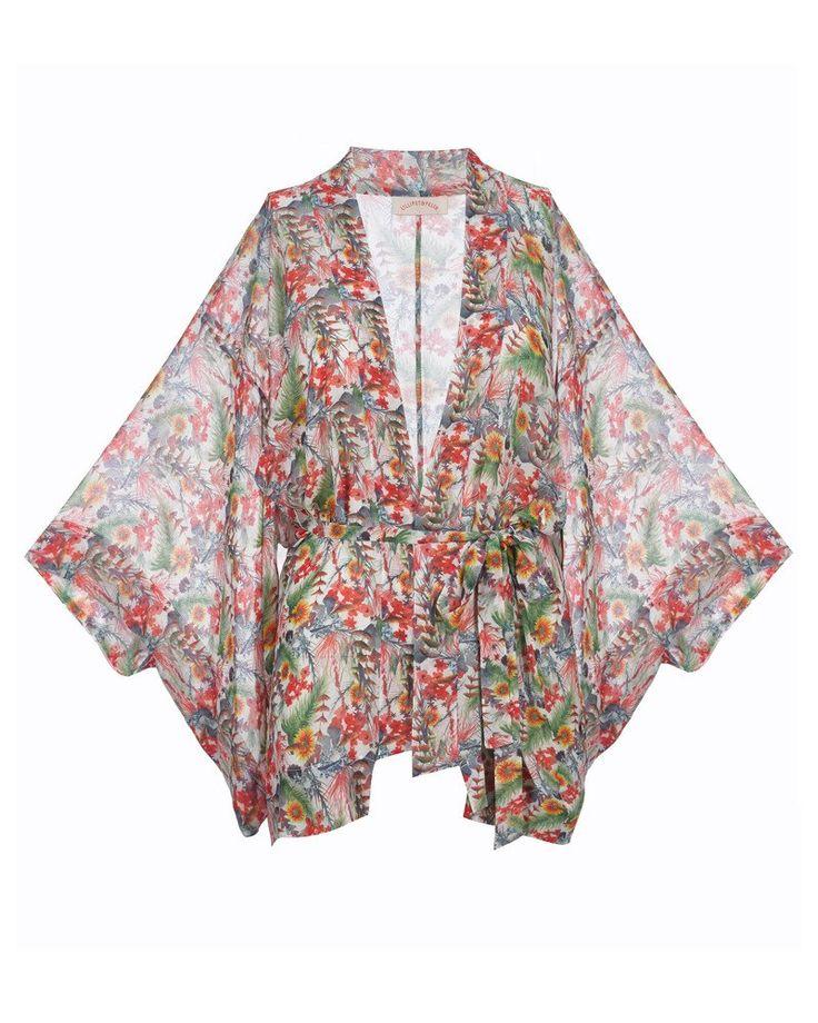 'Wisteria' Short Kimono in 'Wild Floral'