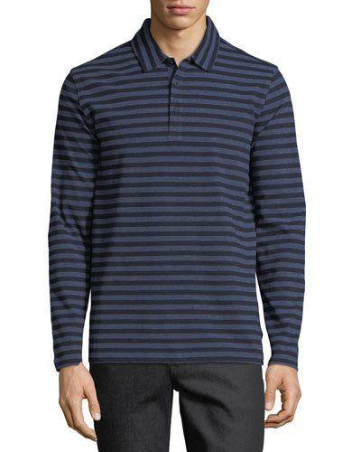 Long-Sleeve Striped Polo Shirt, Navy