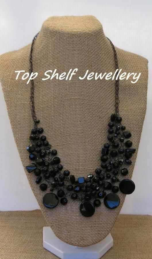 Black Bib Crochet Wire and Beaded necklace - Jewelry creation by Top Shelf Jewellery & Accessories