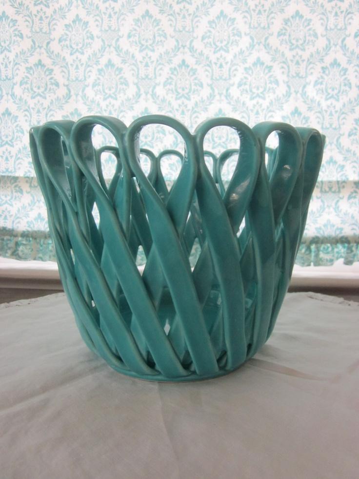 Vintage Italian ceramic Ribbon Basket