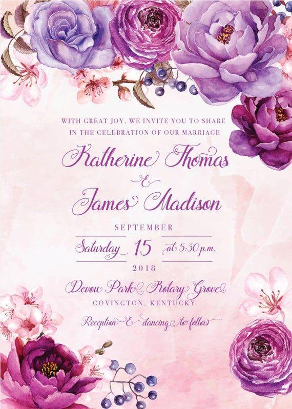 Purple Wedding Invitation Vintage Wedding Invitation Floral