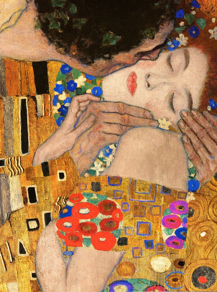 The Kiss    Gustav Klimt    Oil and gold leaf on canvas    1907–1908