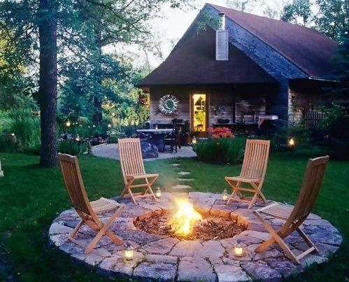 Backyard Design Ideas: Love the firepit. Can't wait to build our house