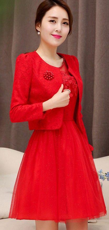 Red Dress and Blazer Jacket Set YRB0665 #dresses #reddress #red #set…