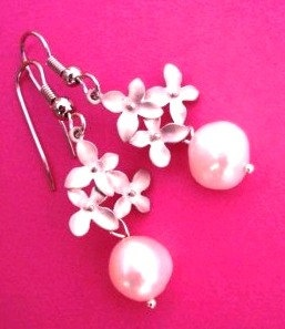 Cherry blossom pearl earrings by MoongemsJewellery on Etsy, $16.00
