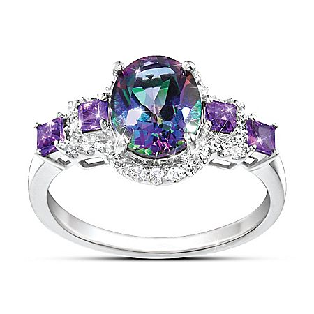 Alluring Beauty Multi-Gemstone Mystic Topaz, White Topaz and Amethyst Ring