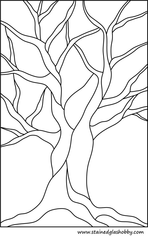 autumn tree no leaves stained glass outline