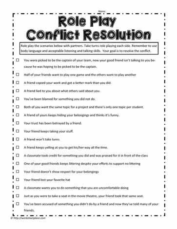 conflict resolution role play for adults