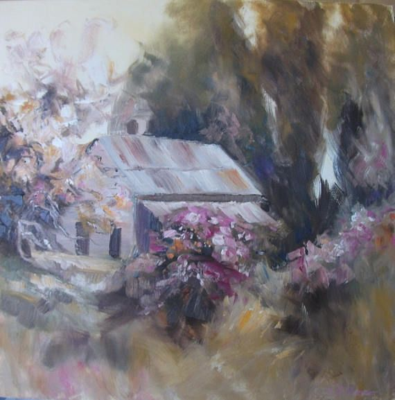 Country Cottage large oil painting tawny pinks golds New