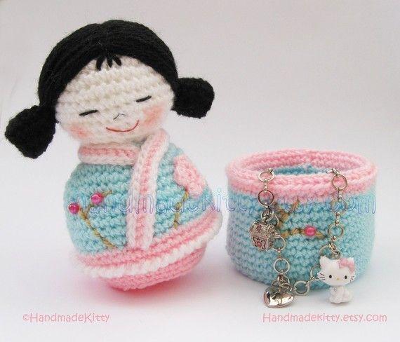 Japanese kokeshi doll / jewellery box.  Crochet Pattern by HandmadeKitty, via Etsy.