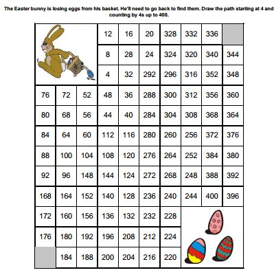 Easter counting by 4s worksheet