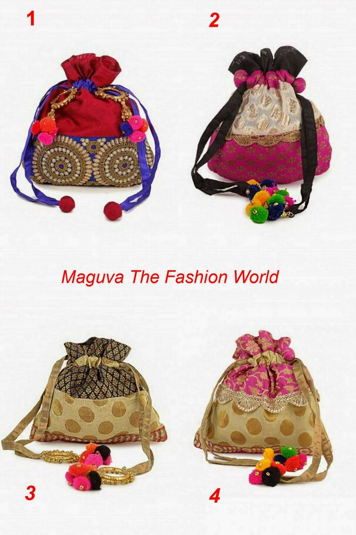 Trendy Potli Bags with traditional touch for party wear/festivals.  To buy online click http://www.maguvathefashionworld.com/2014/10/trendy-potli-bags-with-traditional.html#.VC2gDaPF8kN