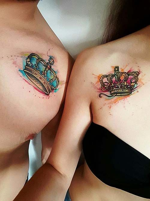 Couple Collarbone Watercolor Crown Tattoo Sevgili Köprücük Kemiği