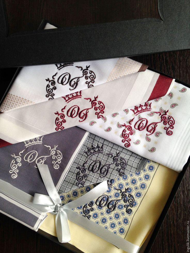 Купить Комплект Носовые платки мужские Хлопок с вышивкой Монограмма - вышивка, вышивка на одежде, платочек