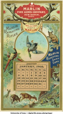 1902 Business promotional calendar Marlin Fire Arms Co.