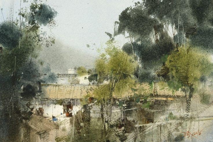 【鄉村角落 / A corner of the countryside】18 x 26 cm  watercolor Demo by Chien Chung Wei