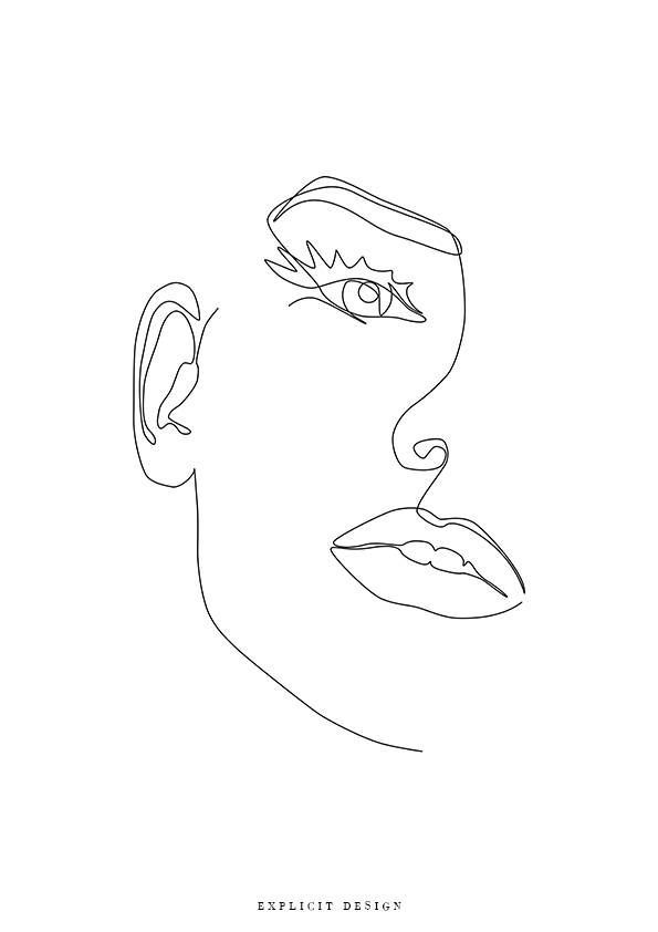 Female Face Printable Art One Line Girl Print Black And White Sketch Artwork Feminine Drawing In 2020 Black And White Sketches Woman Illustration Line Art Drawings