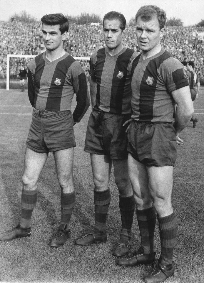 Sandor Kocsis, Luis Suarez and Laszlo Kubala