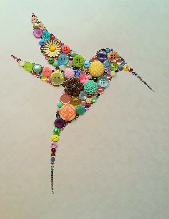 Button art. Hummingbird