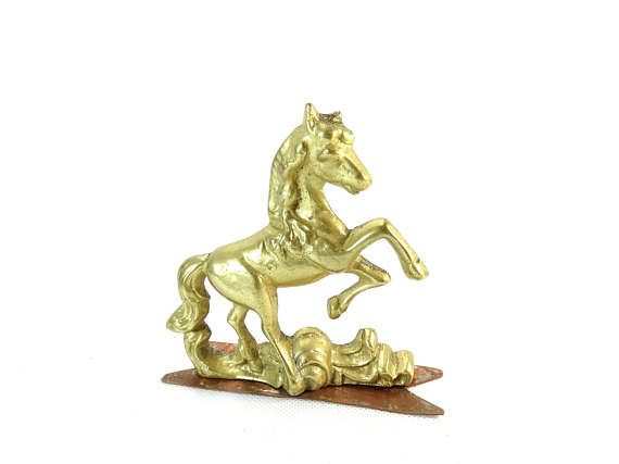 Brass Horse Figurine  Horse Relief  Prancing Horse  Horse