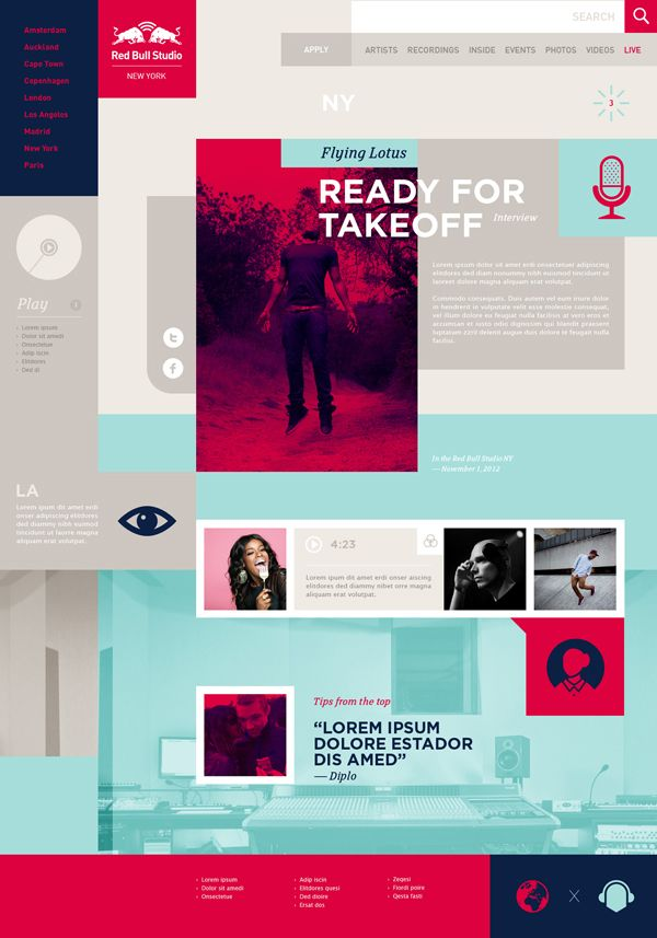 obsessed with this web design for redbull studios by Momkai