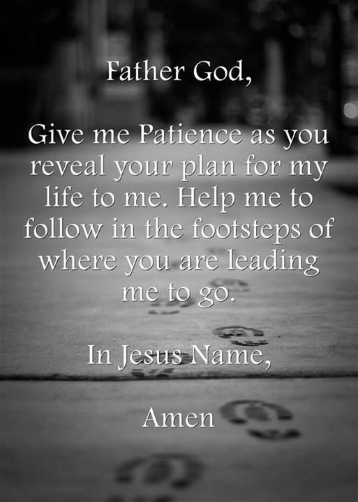 Father God, Give me patience as You reveal Your plan for my life to me. Help me to follow in the footsteps of where You are leading me to go. In Jesus Name, Amen