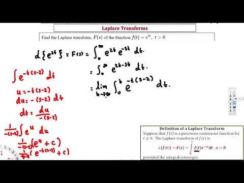 Ex : Find the LaPlace Transform of f(t)=e^2t Using Definition -  Differe...