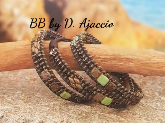 brown cuff wide green grey Leather wrap and rockery beads Boho Leather Wrap Bracelet Made in France