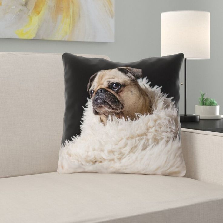 Latitude Run Karlos Pug In Blanket Throw Pillow Square Pillow Cover Outdoor Throw Pillows Pillow Covers
