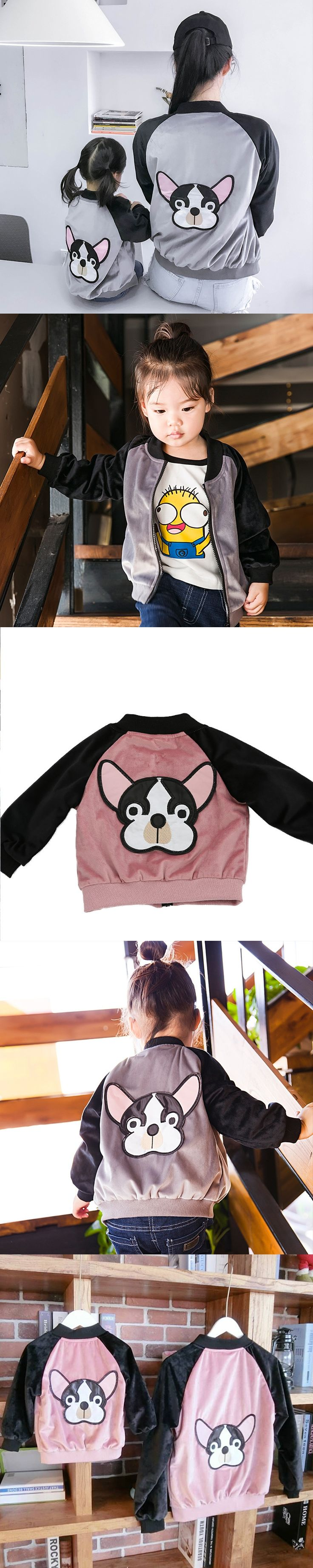 Spring Autumn Coats Matching Family Clothing Embroidery Dog Jacket Mommy Kids Coats Girl Boy Outerwear Fashion Family Clothing