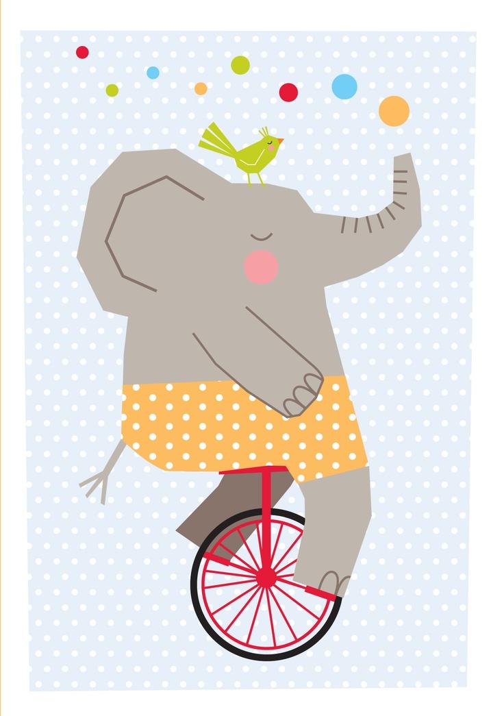 *Natalie Marshall*:  Cartoon elephant riding unicycle