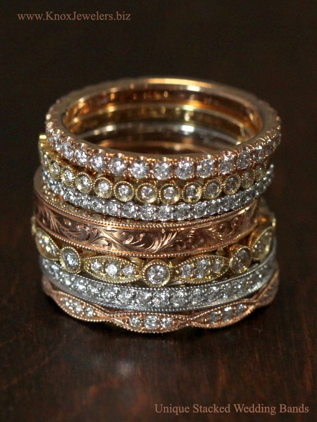 Uniquely shaped diamond and engraved bands in rose gold, yellow gold, and white gold or platinum look amazing stacked on one finger. Stacking multiple rings with different shapes and metal color is a sure way to give your wedding band or engagement ring a distinctly unique look.